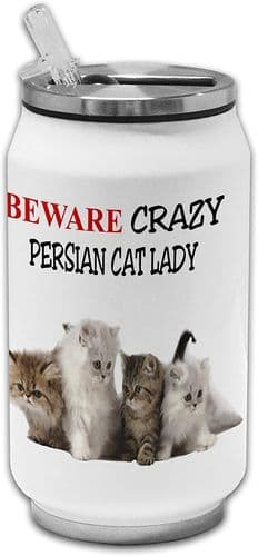 Beware Crazy Persian Cat Lady Funny Stainless Steel Thermos Drinking Can