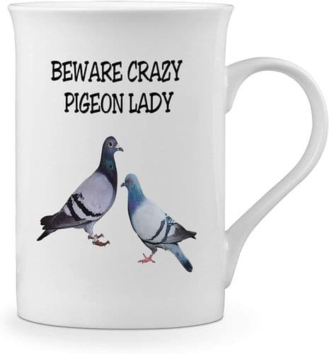 Beware Crazy Pigeon Lady Funny Novelty Gift Fine Bone China Mug