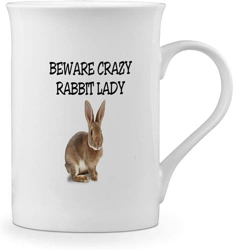 Beware Crazy Rabbit Lady Funny Novelty Gift Fine Bone China Mug