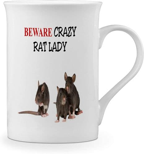 Beware Crazy Rat Lady Funny Novelty Gift Fine Bone China Mug