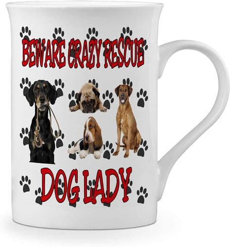 Beware Crazy Rescue Dog Lady Funny Novelty Gift Fine Bone China Mug