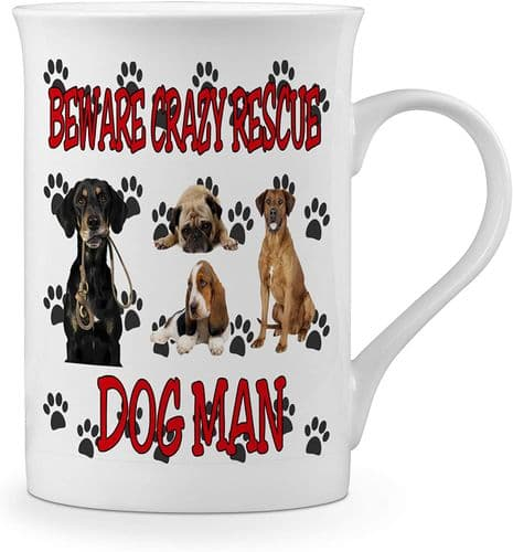 Beware Crazy Rescue Dog Man Funny Novelty Gift Fine Bone China Mug