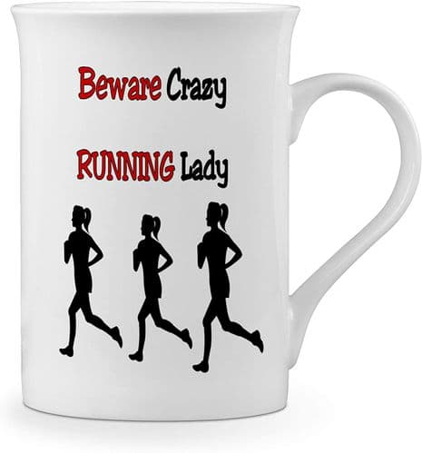 Beware Crazy Running Lady Funny Novelty Gift Fine Bone China Mug