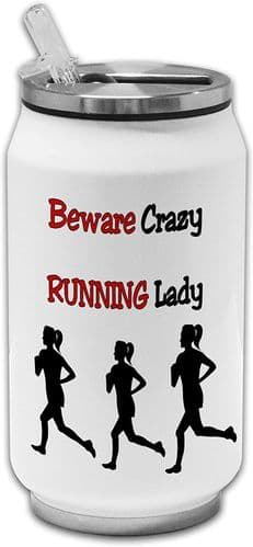 Beware Crazy Running Lady Funny Stainless Steel Thermos Drinking Can