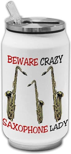 Beware Crazy Saxophone Lady Funny Stainless Steel Thermos Drinking Can