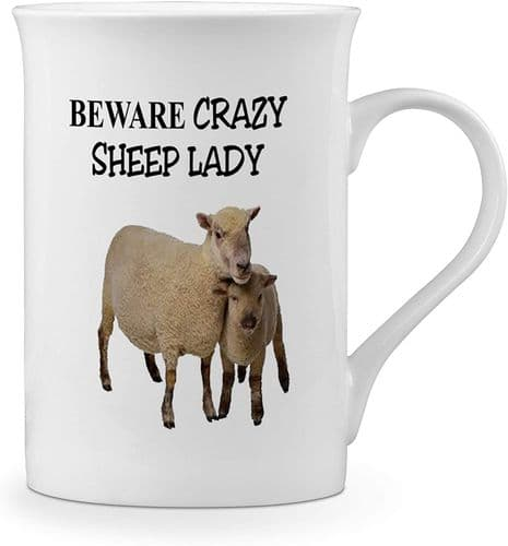 Beware Crazy Sheep Lady Funny Novelty Gift Fine Bone China Mug