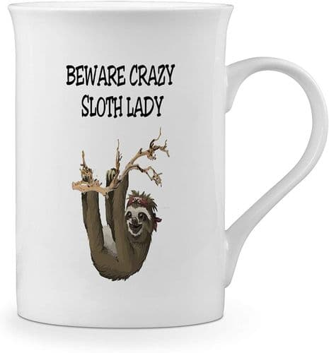 Beware Crazy Sloth Lady Funny Novelty Gift Fine Bone China Mug