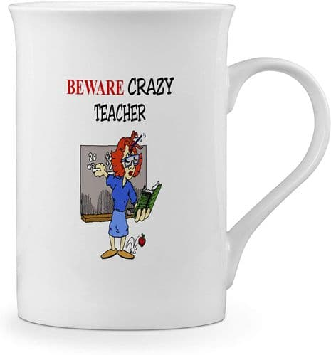 Beware Crazy Teacher Funny Novelty Gift Fine Bone China Mug