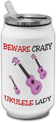 Beware Crazy Ukulele Lady Funny Stainless Steel Thermos Drinking Can