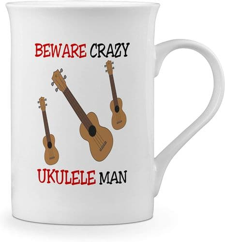 Beware Crazy Ukulele Man Funny Novelty Gift Fine Bone China Mug