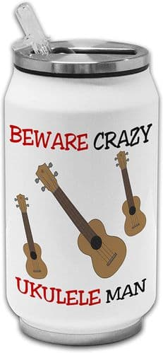 Beware Crazy Ukulele Man Funny Stainless Steel Thermos Drinking Can