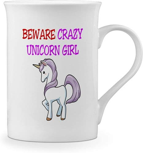 Beware Crazy Unicorn Girl Funny Novelty Gift Fine Bone China Mug