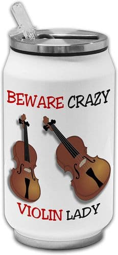 Beware Crazy Violin Lady Funny Stainless Steel Thermos Drinking Can