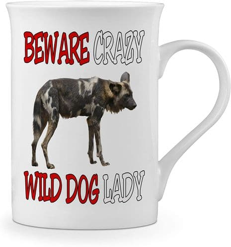 Beware Crazy Wild Dog Lady Funny Novelty Gift Fine Bone China Mug