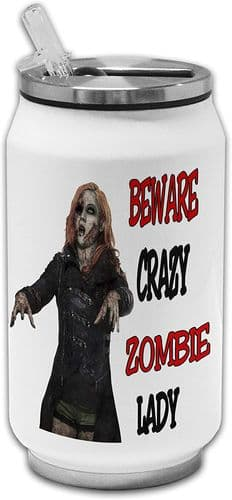 Beware Crazy Zombie Lady Funny Stainless Steel Thermos Drinking Can