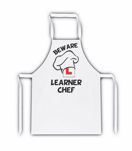 Beware Learner Chef White Adult Apron