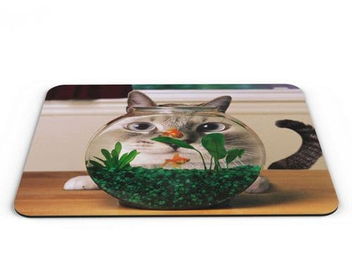 Cat Goldfish Bowl Computer PC Mousemat