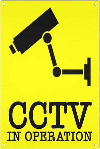 CCTV In Operation Brushed Aluminium Metal Sign