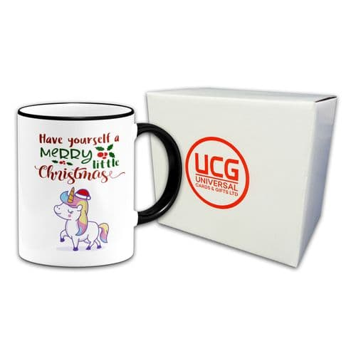Christmas Unicorn Mug - Black Handle