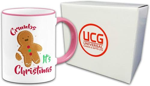Crumbs Its Christmas Novelty Gift Mug-Pink Handle/Rim