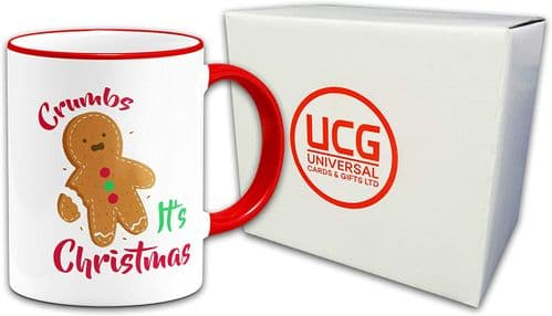 Crumbs Its Christmas Novelty Gift Mug-Red Handle/Rim