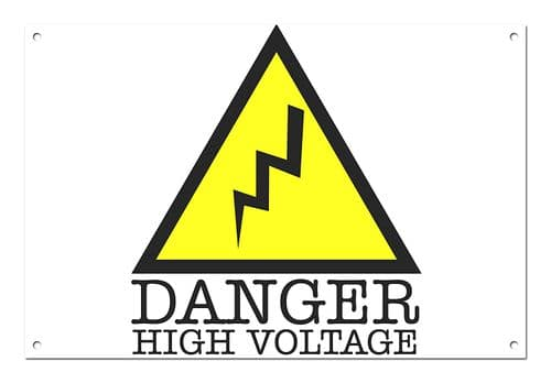 Danger High Voltage White Aluminium Metal Sign
