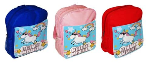 Death Metal Unicorn Cute Funny Children's School Bag Rucksack Backpack