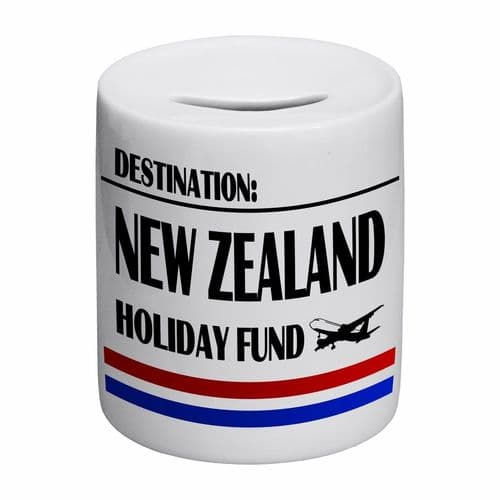 Destination New Zealand Holiday Fund Novelty Ceramic Money Box