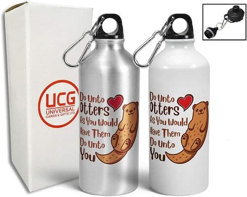 Do Unto Otters Funny Cute Animal Lover Pun Aluminium White Sports Water Bottle/Canteen