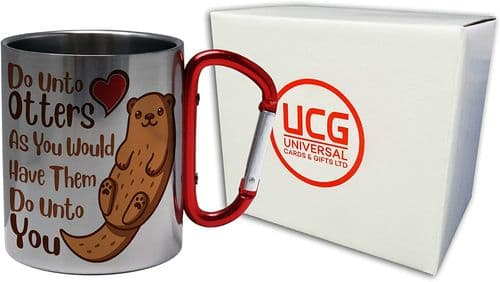 Do Unto Otters Funny Cute Animal Lover Pun Novelty Stainless Steel Mug w/Carabiner Handle