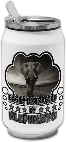 Easily Distracted by Elephants Funny Novelty Stainless Steel Thermos Drinking Can