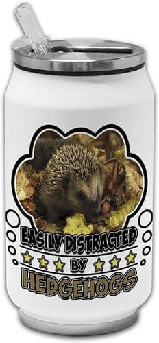 Easily Distracted by Hedgehogs Funny Novelty Stainless Steel Thermos Drinking Can