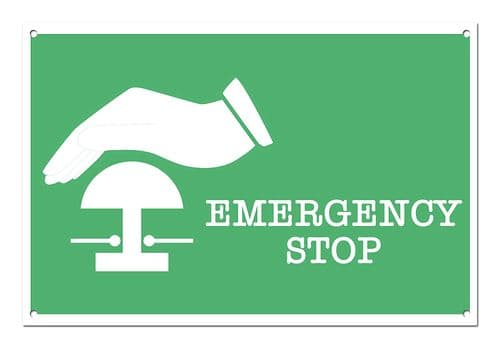 Emergency Stop White Aluminium Metal Sign