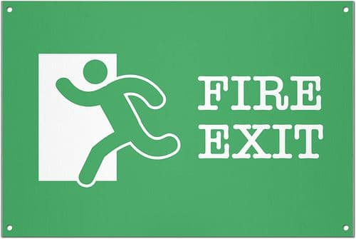 Fire Exit Brushed Aluminium Metal Sign