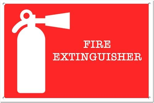 Fire Extinguisher Brushed Aluminium Metal Sign