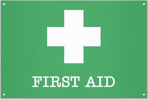First Aid Brushed Aluminium Metal Sign