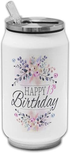 Floral Happy (13th-100th) Birthday Novelty Stainless Steel Thermos Drinking Can