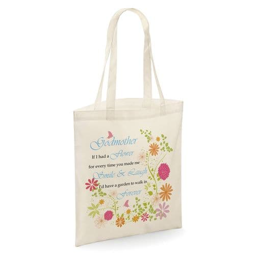 Godmother If I Had A Flower Tote Shopper Bag - Natural Colour