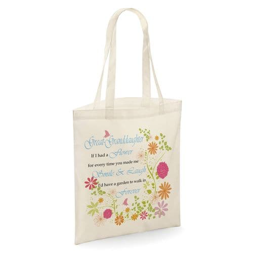 Great-Granddaughter If I Had A Flower Tote Shopper Bag - Natural Colour