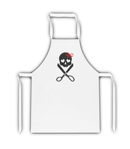 Hairdressing Skull And Cross Scissors White Adult Apron