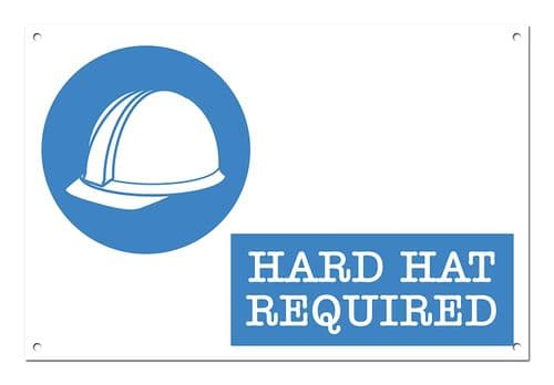 Hard Hat Required White Aluminium Metal Sign