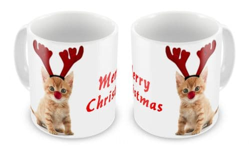 Merry Christmas Kitten Novelty Gift Mug