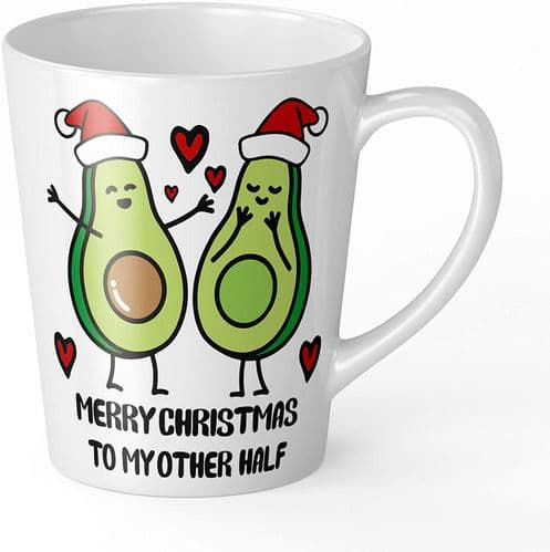 Merry Christmas to My Other Half Cute Avocado Novelty Gift Latte Mug