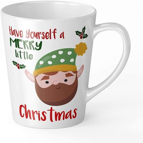 Merry Little Christmas Beard Elf Novelty Gift Latte Mug