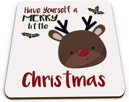 Merry Little Christmas Reindeer Novelty Glossy Mug Coaster