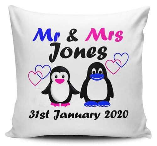 Mr & Mrs Penguin Design Personalised Cushion Cover