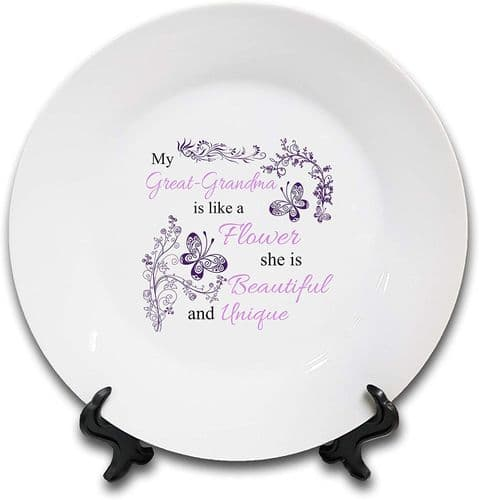 My (Female Relation) is Like A Flower Novelty Gift Ceramic Plate & Stand