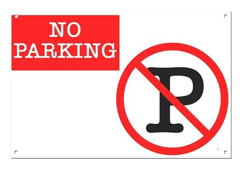 No Parking White Aluminium Metal Sign