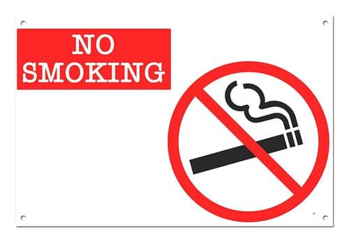 No Smoking White Aluminium Metal Sign