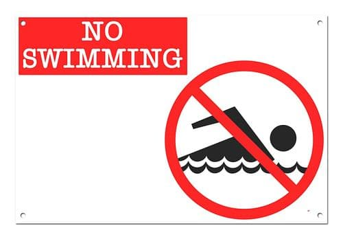 No Swimming White Aluminium Metal Sign